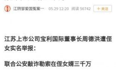 江苏一上市公司董事长遭侄女举报 敲诈他人3000万元?